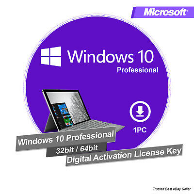 Instant Windows 10 Pro 32 / 64 Bit Professional License Product Key