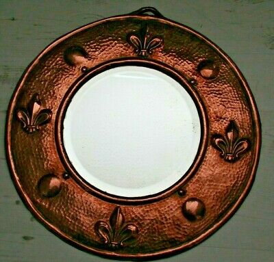 Antique Arts and Crafts Bevelled Mirror Hammered Copper + Fleur-de-lis Pattern
