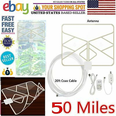 Indoor HDTV Amplified 50 mile Digital HD TV UHF VHF FM Radio Boom Antenna