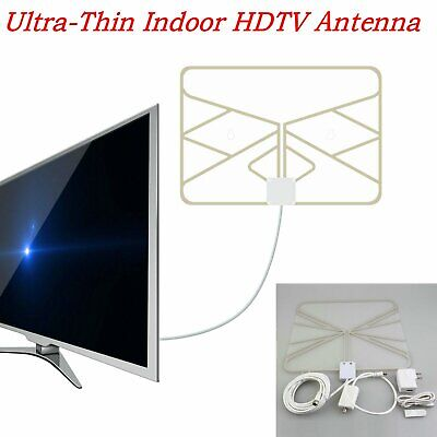 50 Mile Thin Flat Indoor HDTV Amplified HD TV Antenna Better Reception