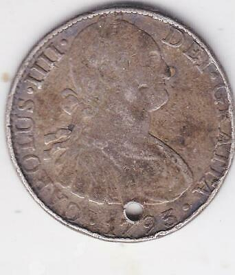 1793 Silver Pirate Piece Of 8, Spanish 8 Reales Coin  B23