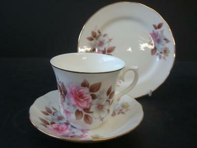 Queen Anne Fine Bone China Pink & White Flowers With Gilt Trim Trio