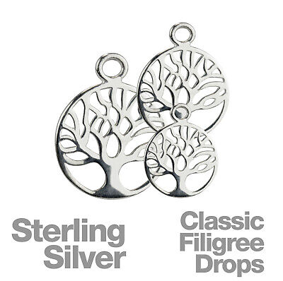 Sterling Silver Classic Tree of Life Filigree Pendant Drops 5pk.