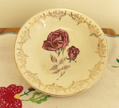 British Anchor 1-62 Staffordshire England round roses transfer printed plate