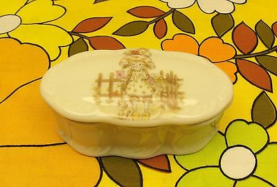 Holly Hobbie style trinket box white porcelain made in Japan stamped base lovely