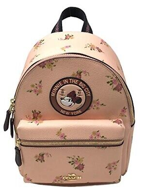NWT COACH DISNEY Minnie Mouse Mini Charlie Backpack Cute School Bag Leather Pink