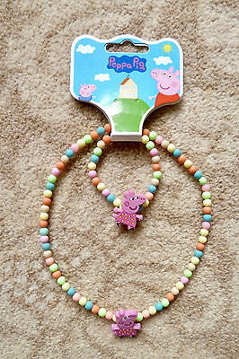 Peppa Pig Necklace and Bracelet Set - Peppa with Yellow Spot Top - Brand New