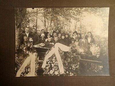 1) early 1900 OPEN COFFIN MAN POST MORTEM LARGE PHOTO ON CARDBOARD EUROPEAN