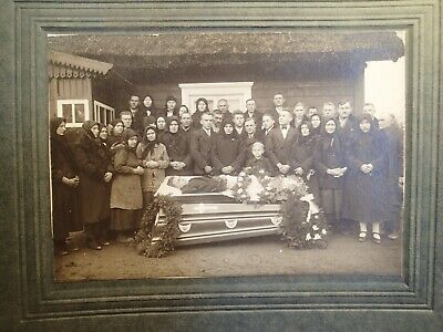 2) early 1900 OPEN COFFIN MAN POST MORTEM LARGE PHOTO ON CARDBOARD EUROPEAN