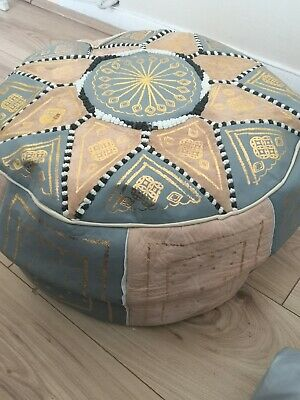 Moroccan pouffe Leather Footstool Grey Cream seating ottoman pouffet pouffet New