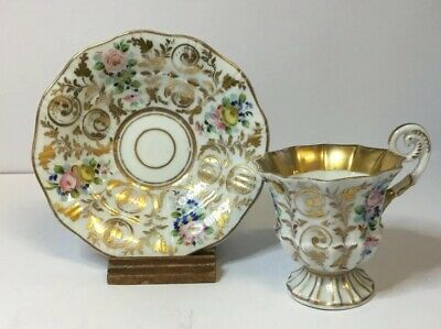 RARE BOHEMIAN CARLSBAD PORCELAIN CUP & SAUCER HAND PAINTED 19th CENTURY C1840