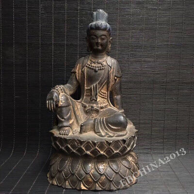 "8.6"" Collect Old China Antique Bronze Carved Buddhism Bodhisattva Buddha Statue"