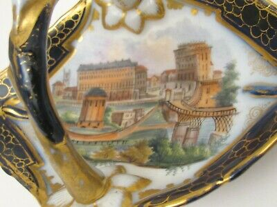 Lovely Antique Hand Painted Old Paris Cobalt Scenic Tray Late 1800s