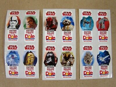 Star Wars: The Last Jedi - DOLE BANANA STICKERS - Set of 12 - French Version