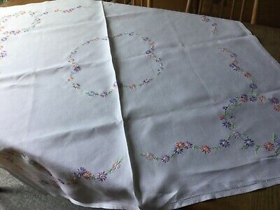 "Vintage  hand embroidered  tablecloth 42"" x 44"""