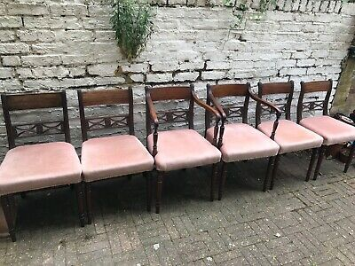 Set of Six Early 19th Centuary Mahogany Dining Chairs.  2 Carvers and 4 chairs.