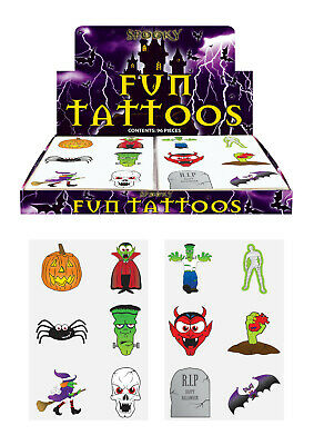 72 Halloween Temporary Tattoos - Pinata Toy Loot/Party Bag Fillers Wedding/Kids