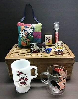 Junk Drawer Lot of 8 Mickey Mouse & Minnie Collectibles Spoon Snow Globe Mug Cup