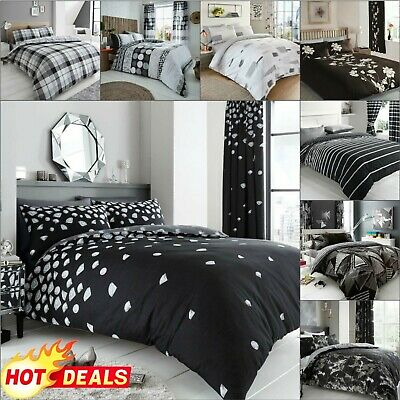 BLACK AND WHITE DUVET COVER With Pillowcase Quilt Bedding Set Double King Size