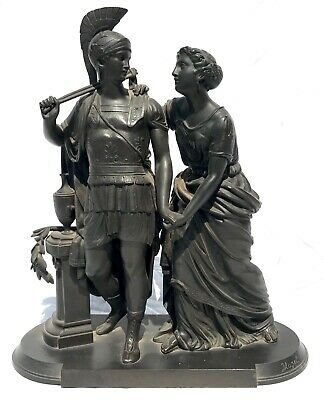Antique Bronze Sculpture Of Greek Soldier And Woman Signed By Huzel