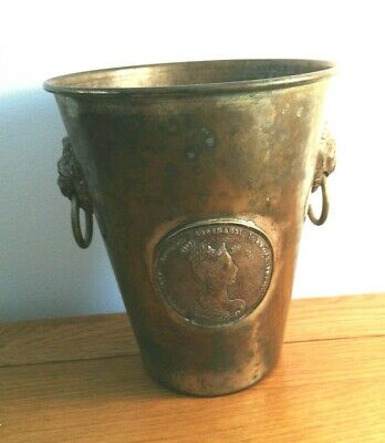 Antique Brass Champagne Bucket With Lions Head Handles and Two Medalions/Coins