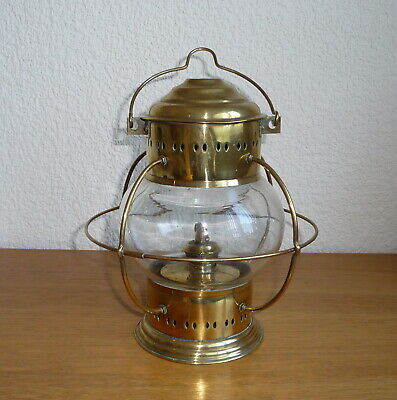 Vintage Brass Nautical Ships Hanging Onion Shaped Oil Lamp