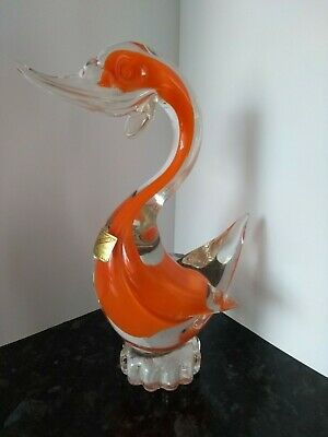 Vintage Murano Art Glass  Duck Stands 8 Inches Tall