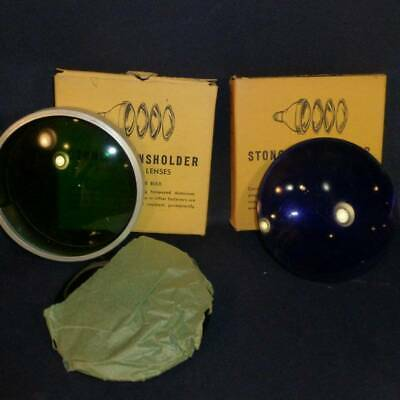 3 Vintage Stonco Lensholder & Color Lenses #47 - Blue, Green