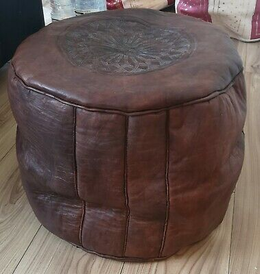 Genuine Leather Pouffe Moroccan Handmade New Brown Large Footstool Pouf Tall