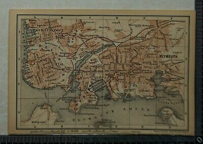 1897 Baedeker Map Plan of Plymouth & Devonport / Map Plan of Torquay