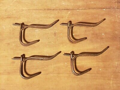 Antique Lot Of 4 Twisted Wire Coat Hooks School House Diy Farm House Craft Lot D