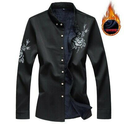 Men's Floral Slim Fit Winter Warm Stand Collar Button Front Thicken Tops Casual