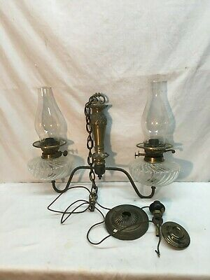 ANTIQUE Electrified  Gas Brass Hanging Double Arm  Chandelier Light Brass