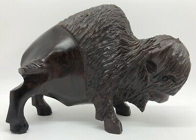 "IRONWOOD Buffalo Bison Hand-Carved Sculpture Figurine 7""L x 5""H x 2-1/2""W (RF990"