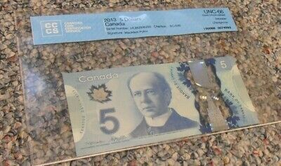 1 x $ 5.00 2013 Canadian Bank Notes (CCCS)Certified UNC - 66 Gem REPEATER