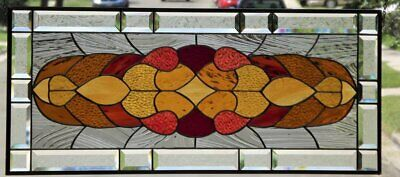 """•Sun Kissed •Beveled Stained Glass Window Panel • 34 3/8"""" x 13 3/8"""""""