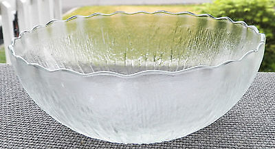 Kig Indonesia Frosted Clear Glass Bowl Elevated Water Drop Look Scallopped Rim