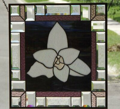 """•Crocus• •Beveled Stained Glass Window Panel • 19 1/2"""" x 19 1/2"""