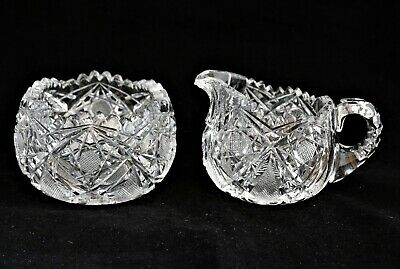 ANTIQUE AMERICAN BRILLIANT CUT GLASS CRYSTAL ABP Sugar Bowl & Creamer Set