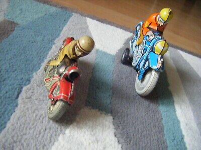 Pair of Classic tinplate Motorbike and riders One Schuco Vintage tinplate