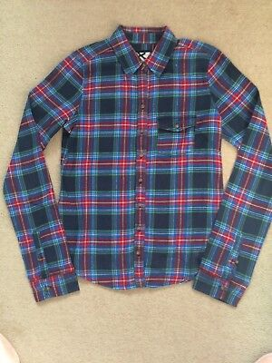 Ladies Gilly Hicks Blue Check Tartan Brushed Cotton Shirt Size Small