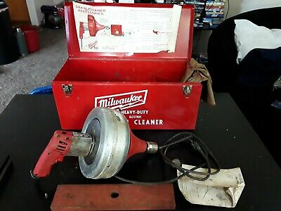 Used . Milwaukee 0566-1 Heavy Duty Electric Drain Cleaner Snake W/Metal Case