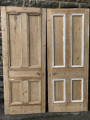 x2 Reclaimed Victorian Stripped Pine Doors Antique Salvage Wooden Panel Vintage
