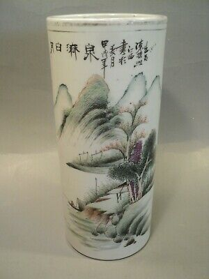 Ancien Vase Rouleau Chinois Porcelaine Chine Chinese Porcelain Ceramic