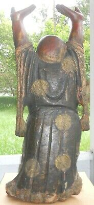 Large Buddha Statue Almost 3 feet Early 20th c carved Wood Budai Gilded Accents