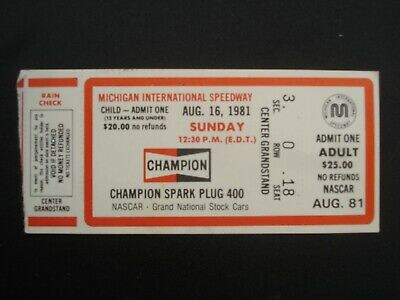 Champion Spark Plug 400 Auto Racing Ticket ~ Michigan Speedway ~ Nascar Must See