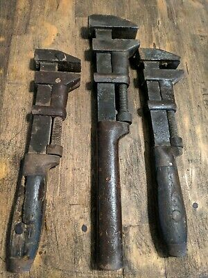 Antique Adjustable Monkey Wrench - Lot of 3 - Vintage COES - Old Tools