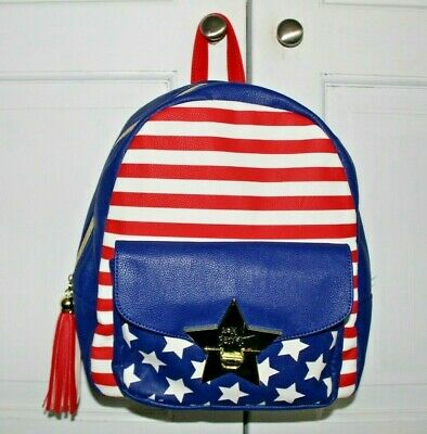 Betsey Johnson Backpack Patriotic Red White Blue Stripe Stars