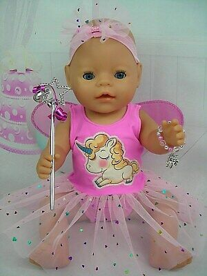 "Dolls clothes for 17"" Baby Born doll~UNICORN PINK FAIRY DRESS AND ACCESSORIES"