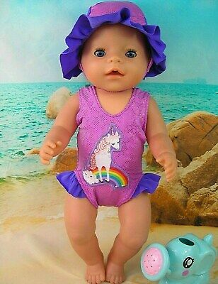 "Dolls clothes for 17"" Baby Born doll~UNICORN~RAINBOW SWIMMING COSTUME~SUN HAT"